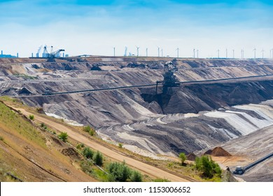 HOCHNEUKIRCH, GERMANY - JULY 7, 2018: enormous bucket-wheel excavator in an open pit lignite brown-coal mine