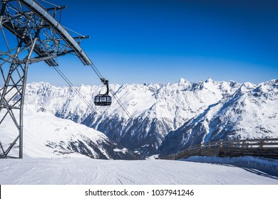 Hochsoelden, Austria - Circa March 2018 - The Gaislachkogl Ropeway