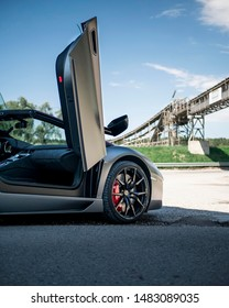 Hockenheim Germany - 08 19 2019: Lamborghini Aventador Pirelli edition with open doors.