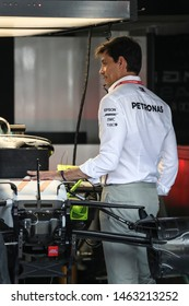 Hockenheim, Germany. 25-28/07/2019. Grand Prix of Germany. F1 World Championship 2019. Toto Wolff, Team Principal Mercedes, in the garage.