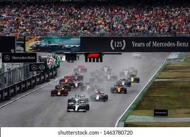 Hockenheim, Germany. 25-28/07/2019. Grand Prix of Germany. F1 World Championship 2019. Start of the race with both of Mercedes of Lewis Hamilton  and Valtteri Bottas leading the group.