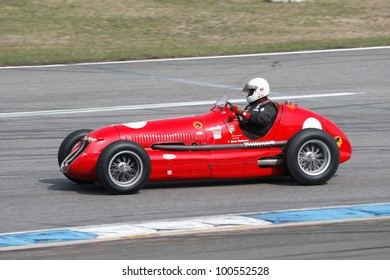"HOCKENHEIM, GERMANY - APRIL 14: Georg Kaufmann in his historic formula one car Maserati 4CL at ""Hockenheim Historic"" on April 14, 2012 in Hockenheim, Germany"