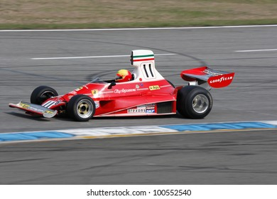 "HOCKENHEIM, GERMANY - APRIL 14: Leopold Hrobski in his historic formula one car Ferrari 312T at ""Hockenheim Historic"" on April 14, 2012 in Hockenheim, Germany"