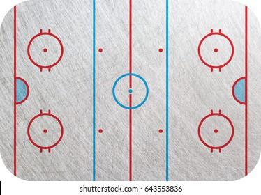 Hockey court, Playground  isolated, ice background. Hockey pitch backdrop