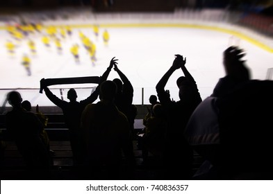 Hockey fan support team on the ice hockey stadium.