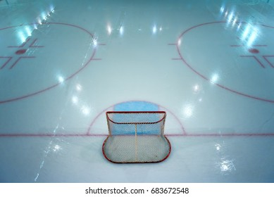 Hockey goal on ice rink. View from above.