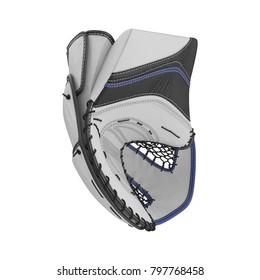 Hockey Goalie Catcher Glove on white. 3D illustration