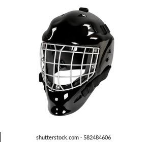 Hockey goalie helmet mask isolated on white background