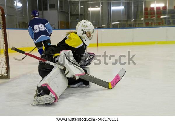 Hockey Goalie Training Stretching Stock Photo Edit Now 606170111