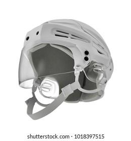 Hockey Helmet on white. 3D illustration