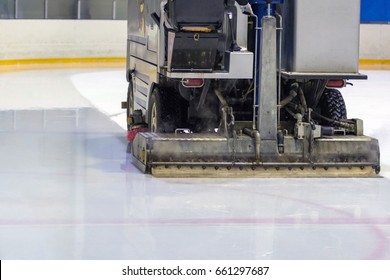 Hockey. The machine pours ice before the game