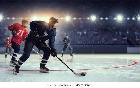 Hockey match at rink  . Mixed media