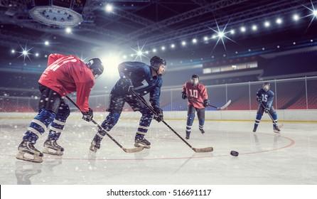 Hockey match at rink mixed media . Mixed media