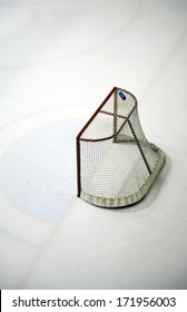 Hockey net on an ice rink