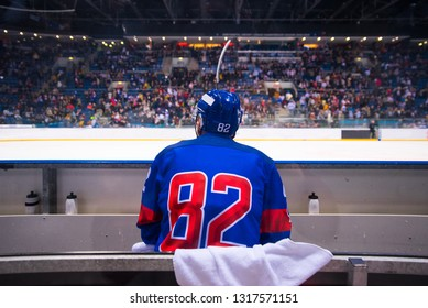 hockey player sitting on the bench, stadium and crowd in background