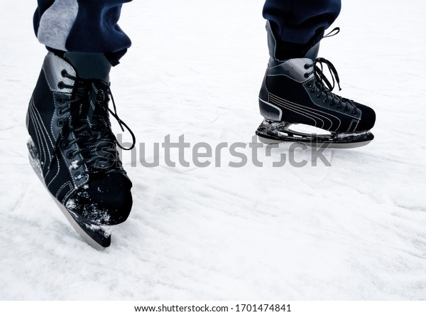 Hockey player. Skate. Winter sport.