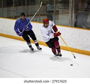 Hockey player skating during a game