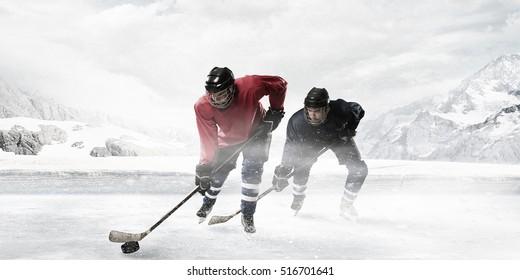 Hockey players on the ice . Mixed media