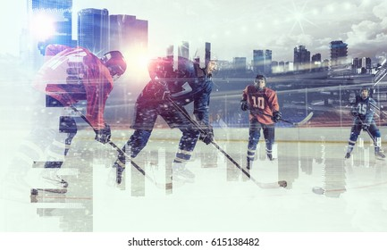 Hockey players on ice . Mixed media
