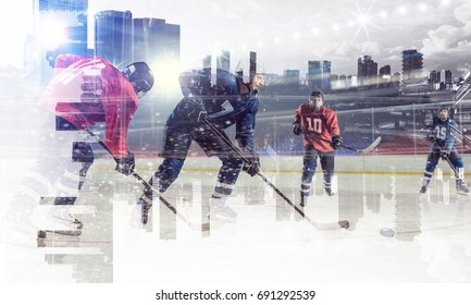 Hockey players on ice. Mixed media