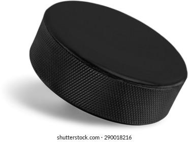 Hockey Puck, Ice Hockey, Ice.
