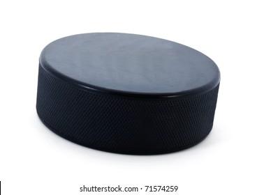 Hockey puck isolated on white background