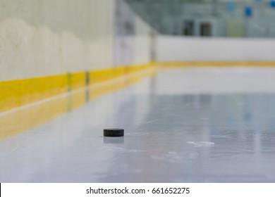 Hockey puck on the ice
