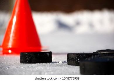 Hockey puck on ice.Hockey puck .
