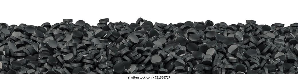 Hockey pucks panorama / 3D illustration of panoramic view of hundreds of ice hockey pucks