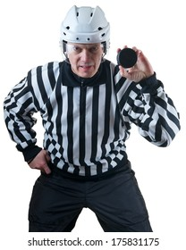 Hockey referee demonstrate hockey puck. On the white background