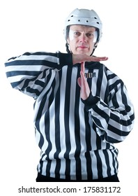 Hockey referee demonstrate timeout gesture. On the white background