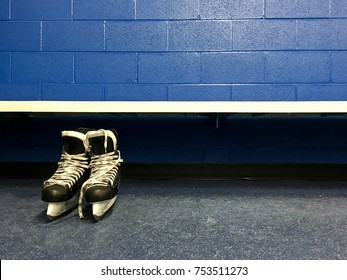 Hockey skates in changing room