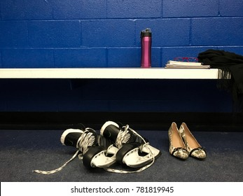 Women's hockey skates game after work with heels in locker room with copy space