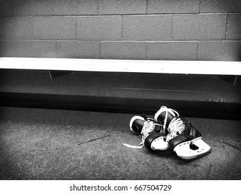 Hockey Skates in Locker Room Black & White