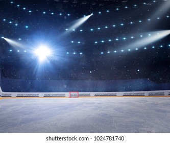 hockey stadium with fans crowd and an empty ice rink