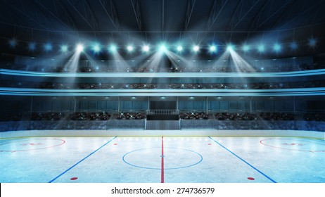hockey stadium with fans crowd and an empty ice rink sport arena rendering my own design
