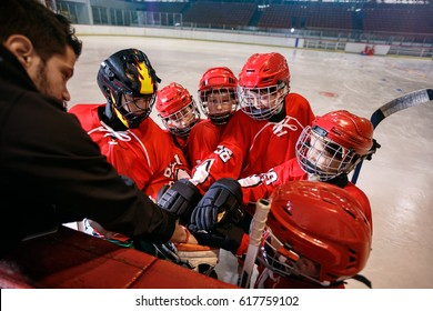 hockey team strong teamwork game for win