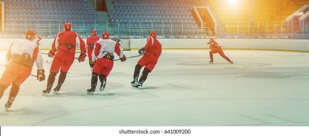 Hockey team in training