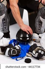 Hockey uniform in locker room