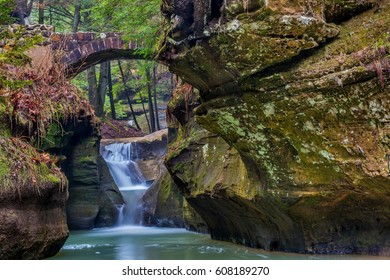 Hocking Hills State Park In Ohio with Beautiful Stone Bridge and Waterfall