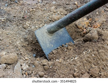 Hoe or digging tool, soil prepared vegetable bed for sowing.