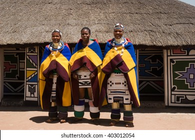 HOEDSPRUIT, SOUTH AFRICA - APRIL 7: ndebele women in a typical dress of the village on april 7, 2015 in Hoedspruit, South Africa