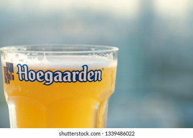 Hoegaarden glass at rooftop HOB or House of Beer in Bangkok,Thailand Feb, 2019