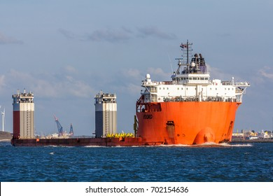 Hoek van Holland, the Netherlands - 30 July 2017: Fjord heavy lift ship in Rotterdam harbor