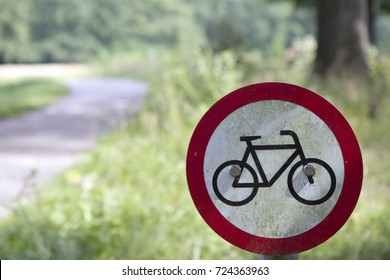 HOENDERLO, THE NETHERLANDS - AUGUST 2, 2015. Bicycle's prohibited, walking trail. Traffic sign, nature area.