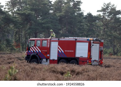 Hoenderloo, The Netherlands - February 25, 2021: fire drills in De Hoge Veluwe National Park, The Netherlands