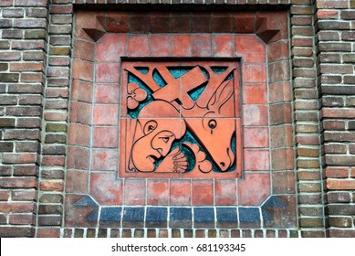 HOENDERLOO, THE NETHERLANDS, July 11, 2017: Detail of wall decoration in the Hunting Lodge St Hubert, designed by the famous architect H.P. Berlage