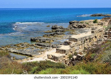 Hof Dor - Beach Nature Reserve, picturesque beach, a coastal strip with more bays and inlets and ruins of the ancient port are visible under the water, northern Israel