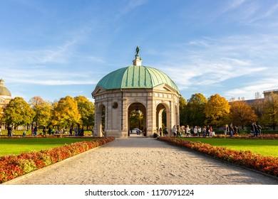 Hofgarten Park in summer sunset Munich Germany