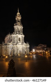 Hofkirche in Dresden at night